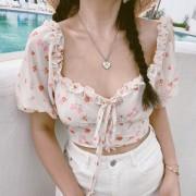 Vintage Floral Wood Fungus Lace Neck Short Sleeve Chiffon Shirt Top - Hemden - kurz - $28.99  ~ 24.90€