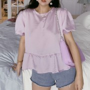 Vintage French Taro Purple Round Neck Bubble Sleeve Pearly Doll Shirt - Srajce - kratke - $25.99  ~ 22.32€