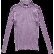 Vintage Half Turtleneck Letter Embroider - Shirts - $23.99