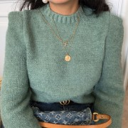 Vintage Mint Green Girly Round Neck Turt - Cardigan - $45.99