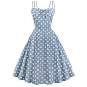 Vintage Polka Dot Strap Dress 1950s Floral Spring Cocktail Rockabilly Swing Tea Dress - Dresses - $28.70