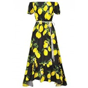 Vintage Retro Women Ladies Floral Off Shoulder Maxi Swing Party Evening Long Dress - Dresses - $12.99  ~ £9.87