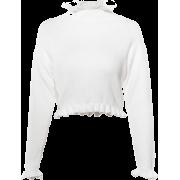 Vintage Ruffled Stand Collar Long Sleeve - Cardigan - $29.99