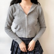Vintage Slim Short Double Zipper Long Sl - Pullover - $29.99  ~ 25.76€