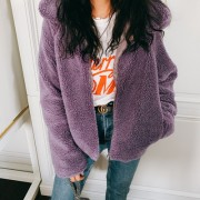 Vintage Toon Purple Lamb Hair Fleece Sho - My look - $35.99