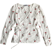 Vintage V-neck Cherry Embroidered Cross - Shirts - $27.99