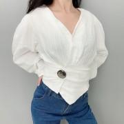 Vintage V-neck Lantern Sleeve White Shir - Shirts - $27.99