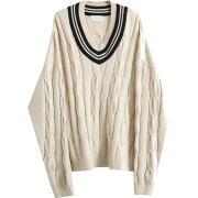 Vintage V-neck colorblock twisted knit p - Pullovers - $45.99