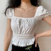 Vintage White Lace Trim Collar Short Sleeve Shirt Women Puff Sleeve Shirtt - Shirts - $26.99