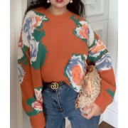 Vintage big flower loose round neck pull - Cardigan - $39.99