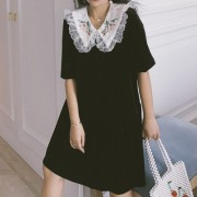 Vintage black velvet lace doll collar pu - Dresses - $27.99
