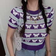Vintage butterfly knit round neck short sleeve T-shirt - T恤 - $25.99  ~ ¥174.14