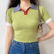 Vintage colorblock polo lapel buttoned knitted short sleeves - Srajce - kratke - $27.99  ~ 24.04€