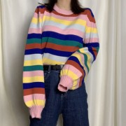Vintage color stripe lantern sleeve sweater sweater rainbow - Shirts - $29.99