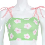 Vintage flower print shoulder strap colo - Shirts - $15.99