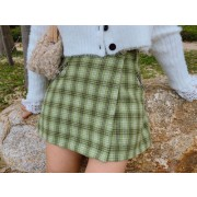 Vintage girly high waist plaid skirt - Skirts - $27.99