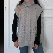 Vintage high neck thick rod loose knit v - Westen - $29.99  ~ 25.76€