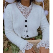 Vintage imitation mane soft white V-neck - Cardigan - $35.99