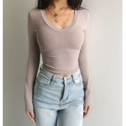 Vintage old earth color deep V tight lon - Shirts - $25.99