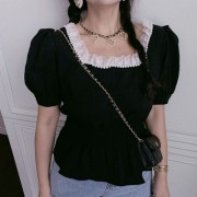 Vintage pearl lace side square collar bubble sleeve waist Hepburn short sleeve t - T-shirts - $29.99