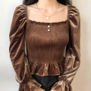 Vintage retro velvet ruffled long sleeve - Shirts - $27.99
