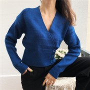 Vintage royal blue sweater coat wool ble - Košulje - kratke - $32.99  ~ 28.33€