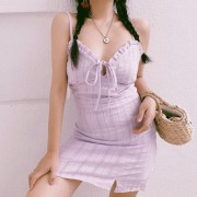 Vintage taro purple fungus bow tie lace dress - Kleider - $28.99  ~ 24.90€