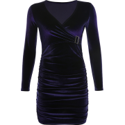 Vintage velvet pleated V-neck long sleev - Dresses - $25.99
