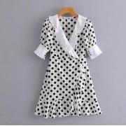 Vintage wave stitching wrap dress - Dresses - $27.99