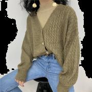 V-neck asymmetric twist stitching cardig - Puloverji - $35.99  ~ 30.91€