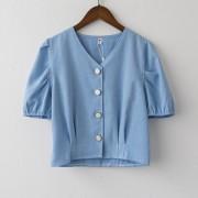 V-neck design niche shirt versatile short shirt - Shirts - $25.99