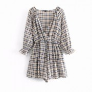 V-neck exposed clavicle plaid dress jump - Pajamas - $27.99