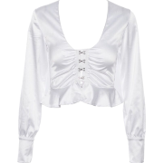 V-neck exposed navel ruffled long-sleeve - Long sleeves shirts - $25.99
