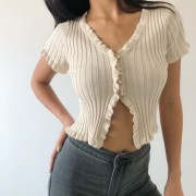 V-neck fungus-breasted cardigan short-s - Shirts - $25.99
