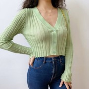 V-neck fungus outside knitted knit cardigan women's thin long-sleeved short suns - 半袖シャツ・ブラウス - $26.99  ~ ¥3,038