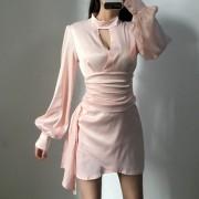 V-neck irregular dress sexy night dress women stand-up collar silky ladies eveni - 连衣裙 - $29.99  ~ ¥200.94