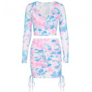 V-neck long-sleeve cropped T-shirt drawstring skirt print suit - Dresses - $25.99