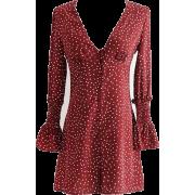 V-neck long-sleeved red wave single-brea - Dresses - $27.99