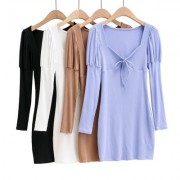 V-neck puff sleeve lace-up slim slimming short long-sleeved dress - Vestiti - $29.99  ~ 25.76€