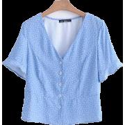 V-neck single-breasted wave trumpet slee - Shirts - $25.99