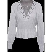 V-neck tie with lantern sleeves sweater - Jacket - coats - $39.99