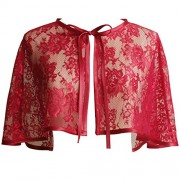 WDING Evening Cape for Women Bridal Wedding Lace Wraps Jackets Cloak - Shirts - $19.99