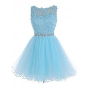 WDING Short Tulle Homecoming Dresses Appliques Beads Prom Party Gowns - Vestiti - $69.00  ~ 59.26€