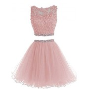 WDING Two Pieces Prom Dresses Short Tulle Lace Applique Beaded Homecoming Dress - Dresses - $159.00