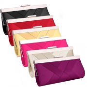 WDING Women's Satin Cross Evening Clutch Purse Bag Bridal Prom HandBag with Rhinestone - Hand bag - $39.90