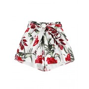 WDIRARA Women's Casual Floral Print Elastic Waist Self Tie Belted Chiffon Shorts - Calções - $8.99  ~ 7.72€