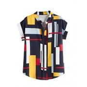 WDIRARA Women's Casual Short Sleeve Color Block Curved Hem Summer Blouse - Shirts - $11.99
