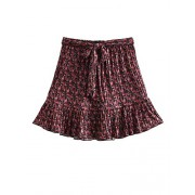 WDIRARA Women's Ditsy Floral A line Tie Front High Waist Ruffle Mini Skirts - Saias - $12.99  ~ 11.16€