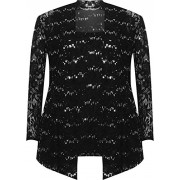 WEARALL Women's Plus Floral Lace Sequin Long Sleeve Vest Top Cardigan Party Set - Shirts - $31.54