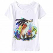 WILLTOO Women Fox Printing Tees Shirt Short Sleeve T Shirt Plus Size - T-shirts - $4.89